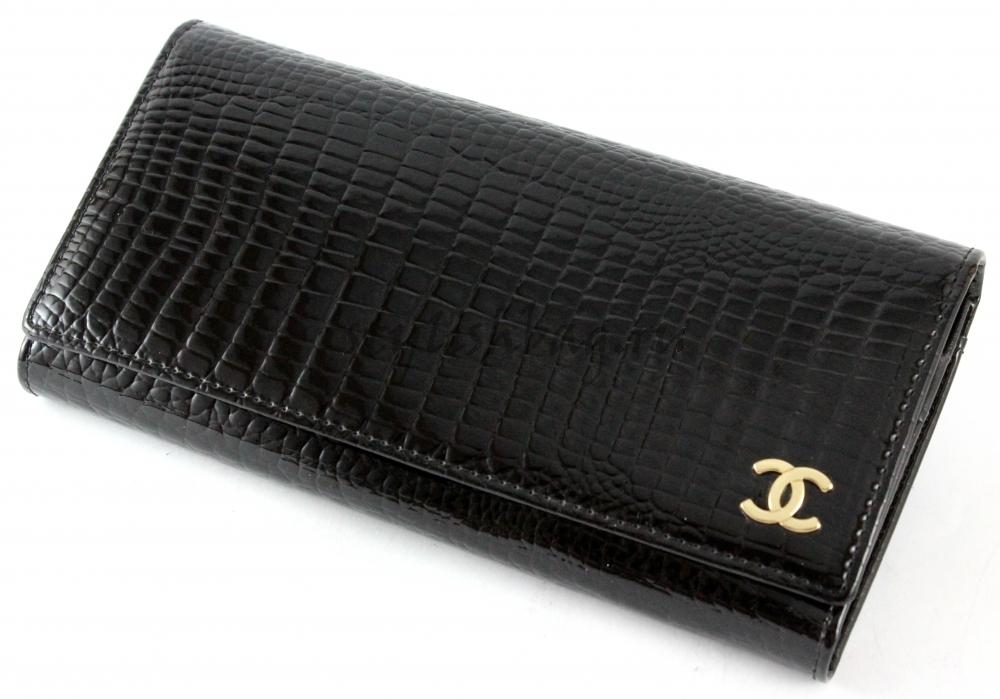 176d162ba6a2 Купить женский кошелек Chanel 9010 black из лакированной кожи в ...
