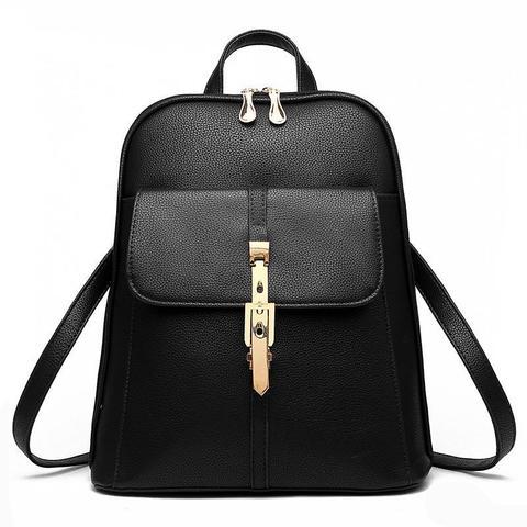 Средний стильный женский повседневный рюкзак черного цвета из экокожи Dublecity 4698-3