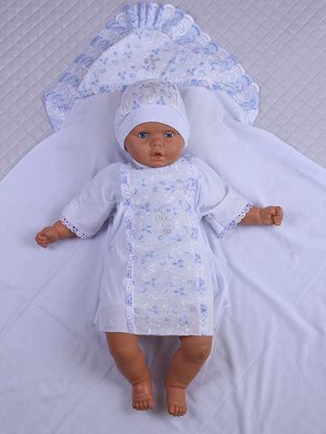 Набор  для крещения Ангел (белый/голубой,68-74 см)