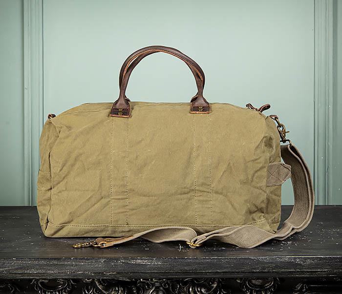 BAG500-3 Тканевая дорожная сумка зеленого цвета с ремнем на плечо фото 09
