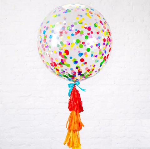 Большой шар с цветным конфетти с гирляндой тассел