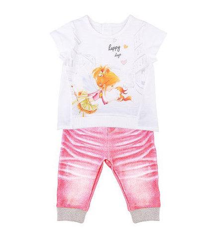 Папитто. Комплект футболка и штанишки для девочки с бельчонком розовый FASHION JEANS