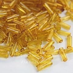 Бисер Preciosa стеклярус витой 7х2 мм  прозрачный, золотистый (кв. отв.)