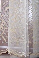 Микросетка с вышивкой Вензель-2 (кремовый)