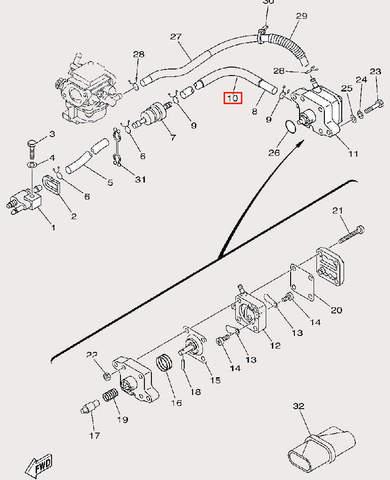 Трубка Φ12×Φ16×145 для лодочного мотора F9,9 Sea-PRO (9-10)