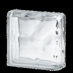 Завершающий стеклоблок бесцветный волна Vitrablok 19x19x8