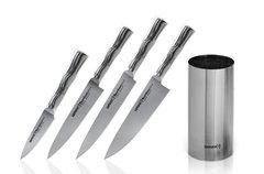 Набор из 4 кухонных стальных ножей и подставка Samura BAMBOO