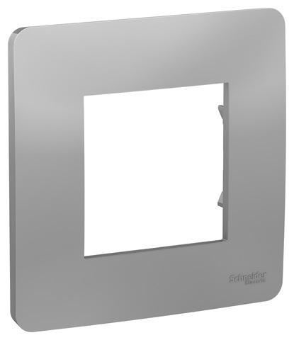 Рамка на 1 пост. Цвет Алюминий. Schneider Electric Unica Studio. NU200230