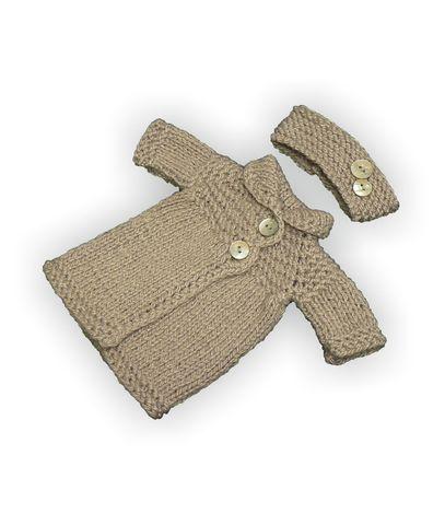 Вязаное пальто - Серый. Одежда для кукол, пупсов и мягких игрушек.