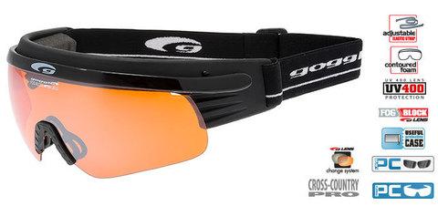 Лыжные очки-маска goggle линия Shima черно-оранжевые