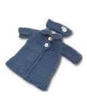 Вязаное пальто - Деним. Одежда для кукол, пупсов и мягких игрушек.