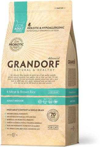 Сухой корм Grandorf Probiotics 4 Meat & Brown Rice Adult Indoor от 1 года