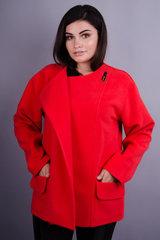 Гармония. Короткое пальто для больших размеров. Красный.