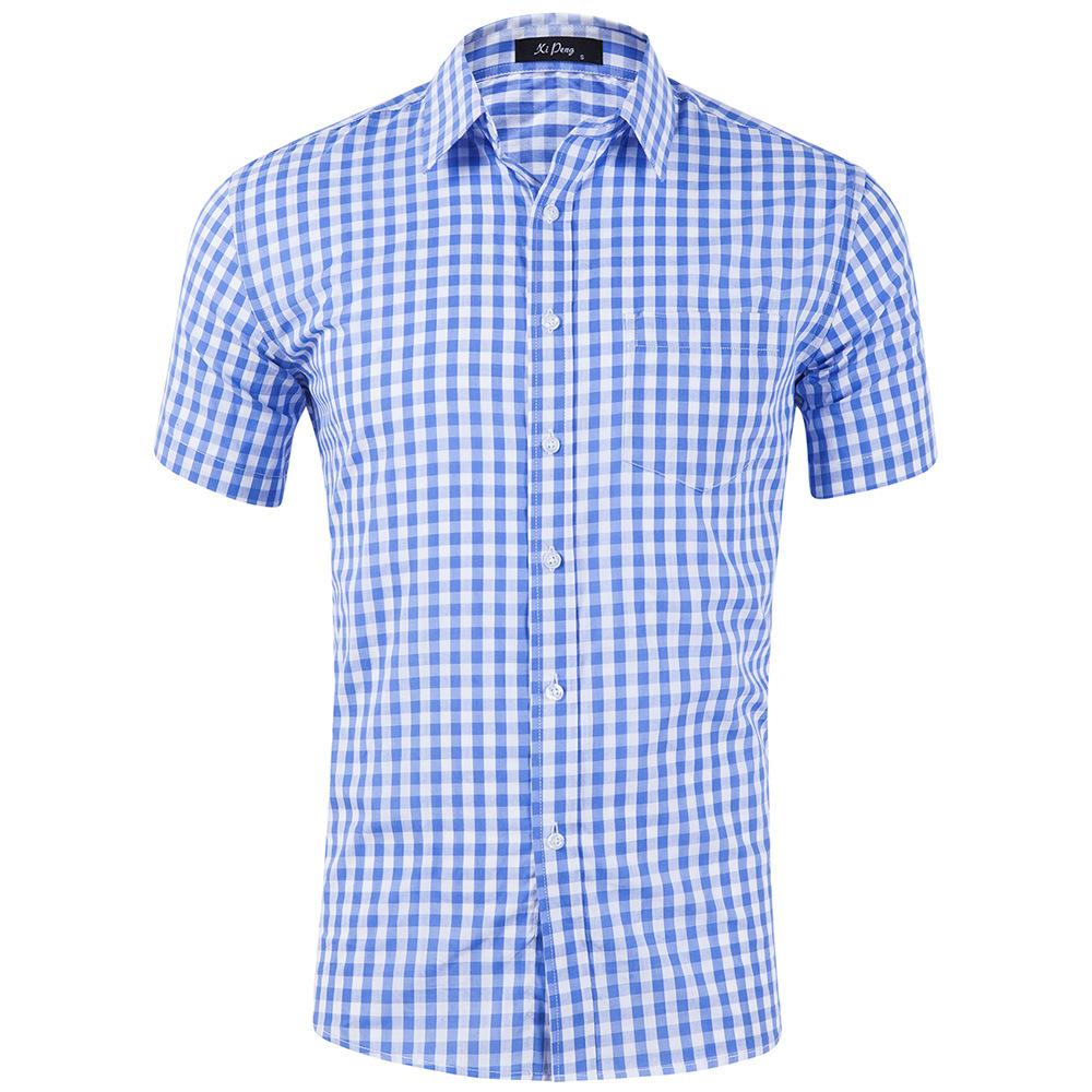 мужские рубашки Мужская рубашка в клетку с коротким рукавом Slim Fit 8914307529_900210035.jpg