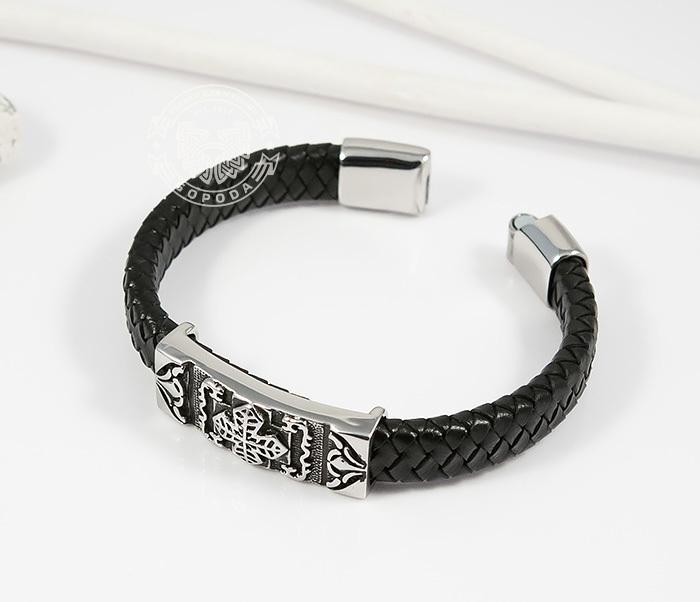 BM390 Массивный мужской браслет с крестом из стали и черной кожи (20,5 см) фото 02