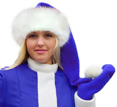 Пушистый новогодний колпак синий
