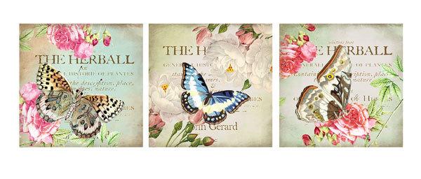 Водорастворимая бумага Винтажные открытки/Бабочки