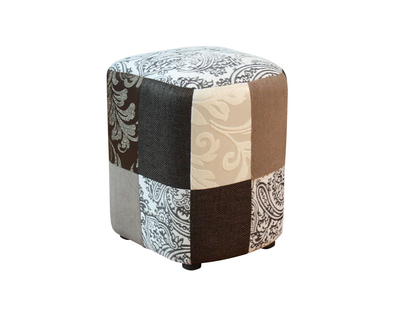 Пуф-табурет, обивка из кусочков ткани