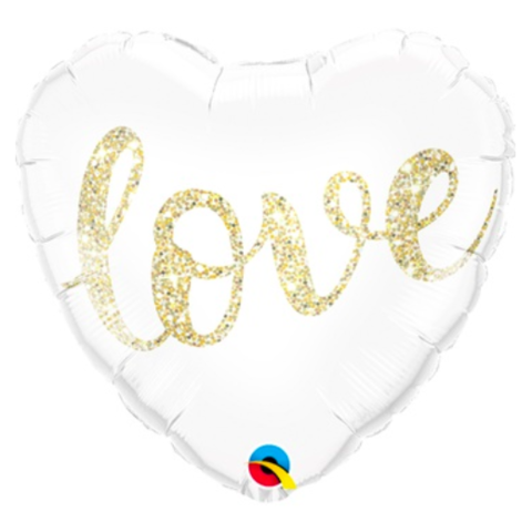 Сердце Love, золотой глиттер, белое, 46 см
