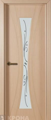 Дверь Крона Эстет, стекло матовое с шелкографией, цвет беленый дуб, остекленная