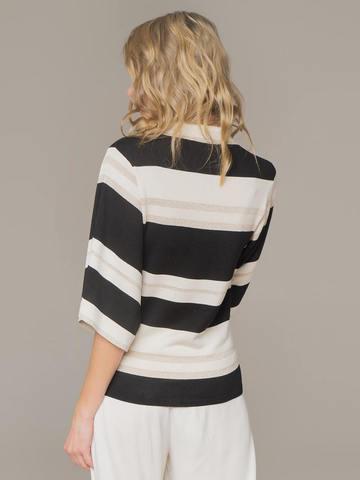 Женский джемпер в сочетании белого и черного цветов из шелка - фото 3