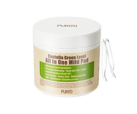 Пилинг-пэды (очищающие диски) с центеллой и ВНА, 70 шт. / Purito Centella Green Level All In One Mild Pad