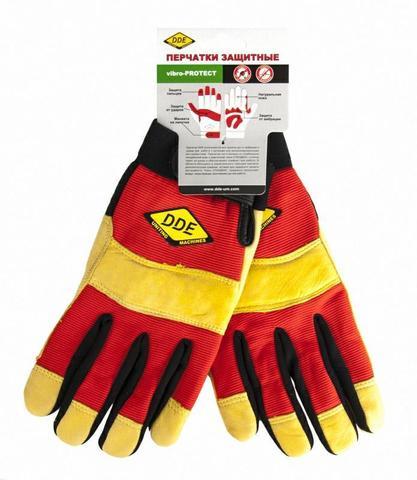 Перчатки DDE vibro-PROTECT  кожа /спандекс,  размер  M