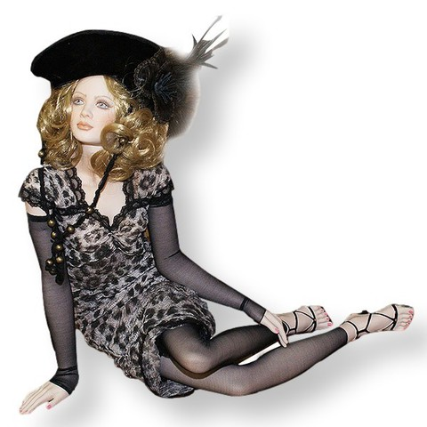 Кукла фарфоровая коллекционная Marigio Antonia 73 см в черном