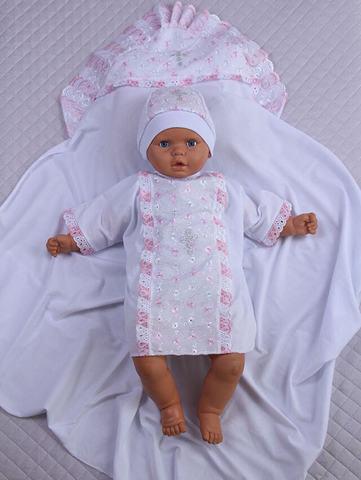 Набор для крещения Ангел (белый/розовый, 68-74 см)