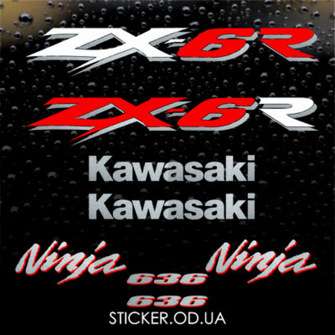 Набор виниловых наклеек на мотоцикл KAWASAKI ZX-6R 2003