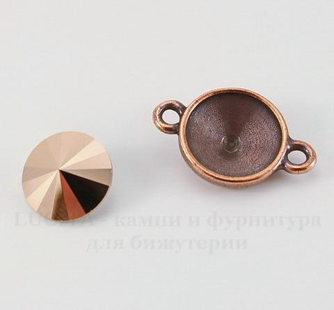 Сеттинг - основа - коннектор TierraCast (1-1) для страза 12 мм (цвет-античная медь)