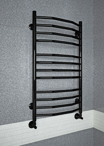 Victoria Black - черный полотенцесушитель выполненный в форме классической лесенки с перекладинами в виде трапеции.