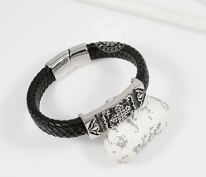 BM390 Массивный мужской браслет с крестом из стали и черной кожи (20,5 см) фото 03
