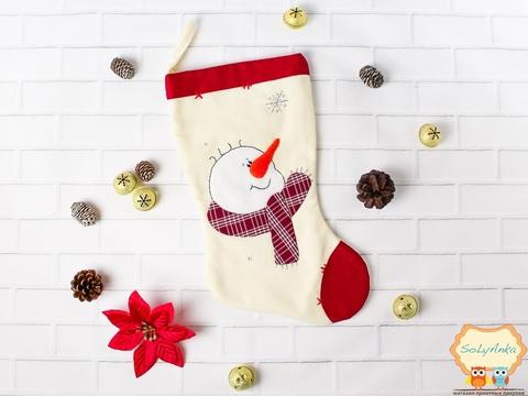 Рождественский носок ванильный. Снеговик.