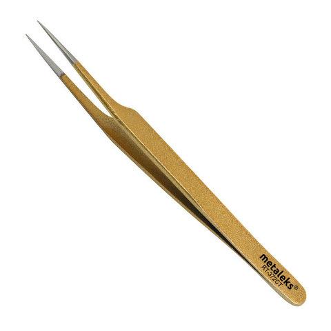 Пинцет для наращивания ресниц, золотой, 12см, RT-372CT