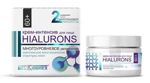 BelKosmex HIALURONS Крем-интенсив для лица 60+ многоуровневое увлажнение + комплексное восстановление структуры кожи 48г