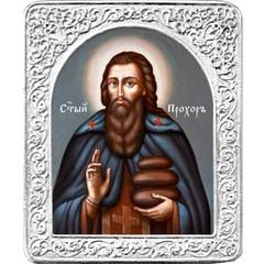 Святой Прохор. Маленькая икона в серебряной раме.