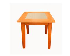 Стол прямоугольный со стеклянной вставкой