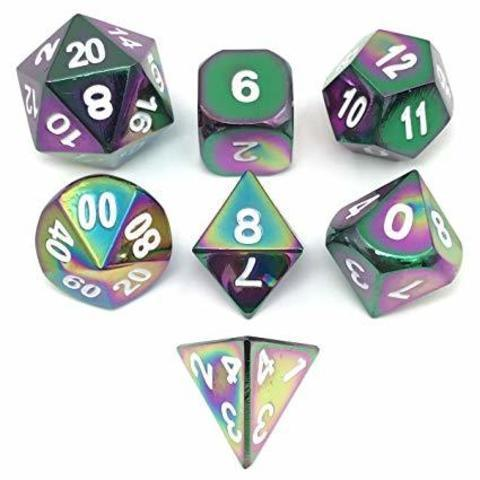 Blackfire Dice - Metal Dice Set - Scorched Rainbow