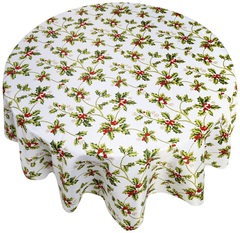 Скатерть круглая 178 Carnation Home Fashions Christmas Fabric Tablecloths Holly