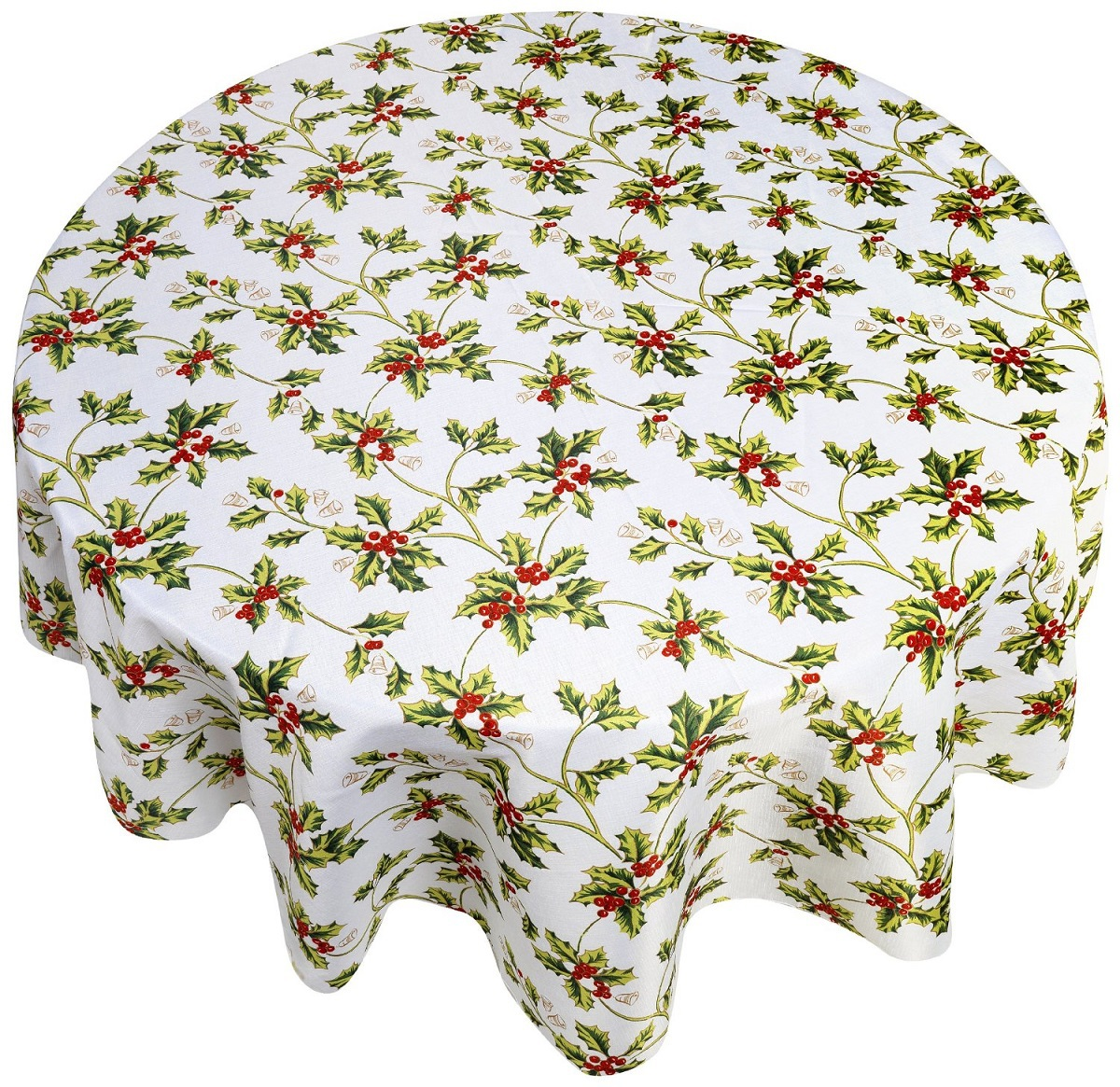 Кухня Скатерть круглая 178 Carnation Home Fashions Christmas Fabric Tablecloths Holly skatert-carnation-christmas-fabric-tablecloths-holly-ssha-kitay.jpg
