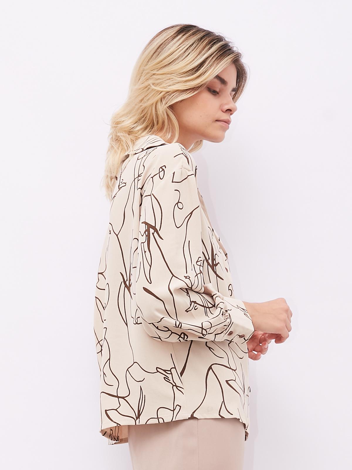 Блуза с абстрактным принтом и пуговицами в два ряда