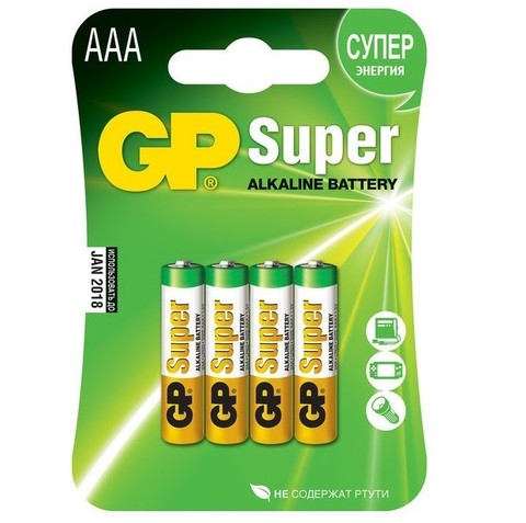 Батарейка алкалиновая GP Batteries Super Alkaline 24А ААA 4 шт.