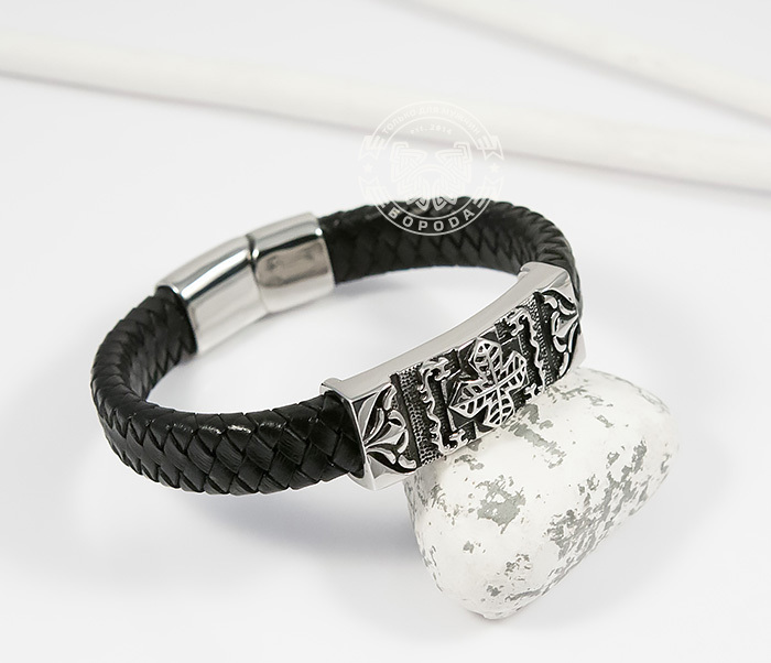 BM390 Массивный мужской браслет с крестом из стали и черной кожи (20,5 см) фото 04