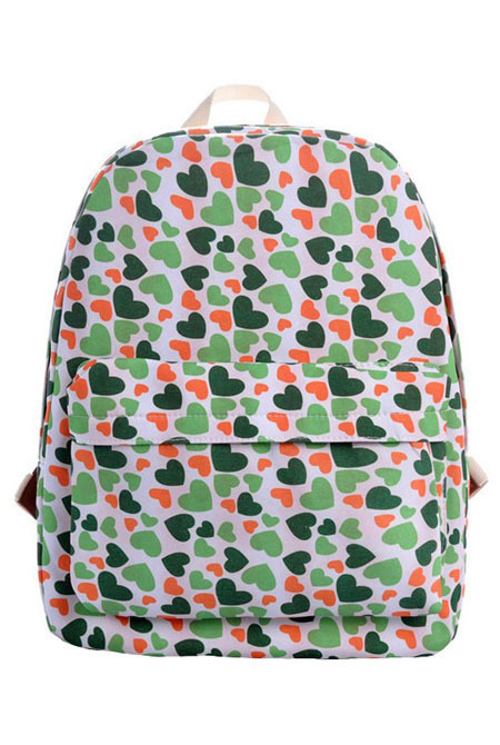 Женский рюкзак Colorful Life Hearts White/Green