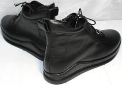 Кеды ботинки женские натуральная кожа Evromoda 375-1019 SA Black