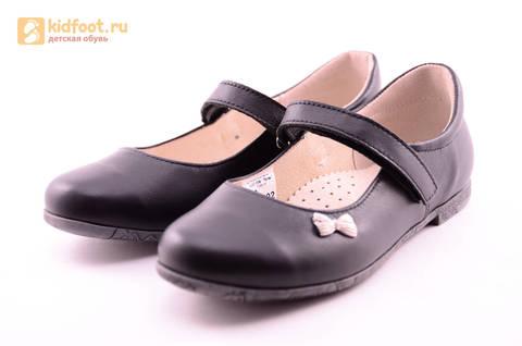Туфли для девочек из натуральной кожи на липучке Лель (LEL), цвет черный. Изображение 6 из 18.