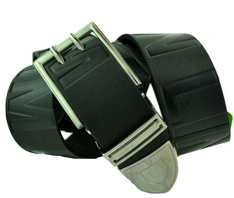 Мужской джинсовый ремень российского производства чёрный 40 мм из натуральной кожи с надписью 40Corona-039