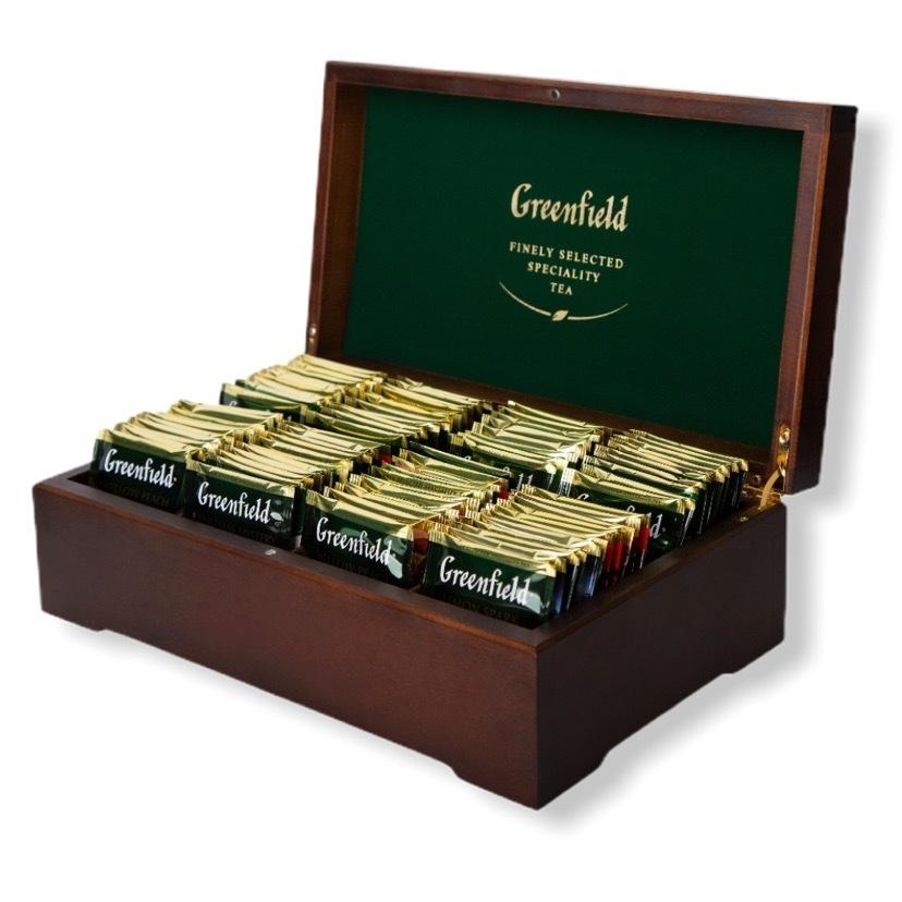 Greenfield ГРИНФИЛД Подарочный набор в деревянной шкатулке 8 видов, пакетированный, 96 пакетиков