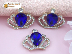 Стразовая корона с большим синим камнем №1